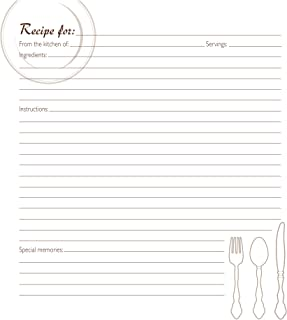 C.R. Gibson Family Recipe Binder Cookbook Refill Pages, 40pc