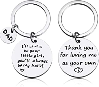 2 Pieces Father Key Chain Jewelry Stainless Steel Stamped Keychain Thank You for Loving Me, I'll Always Be Your Little Girl Father Gift Keychain Set for Birthday Holiday Supplies (Father Keychain Set)