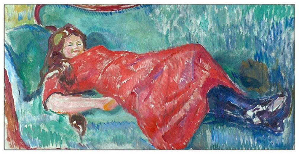 ArtPlaza TW92288 Munch Edvard - On The Sofa Decorative Panel 35.5x27.5 Inch Multicolored