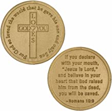 Sterling Gifts 50 Coins God Loves You, Christian - Jesus Roman's 10:19 Bags of 50 Gold