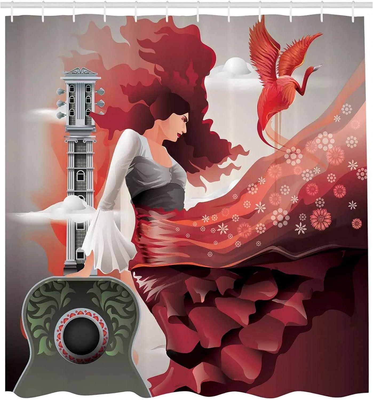 Fmiljiaty Cortina Ducha con Estampado Arte Tema Cultural con Bailarina Guitarra Fiesta Latina Arte Tela Tela para baño -180 * 180CM