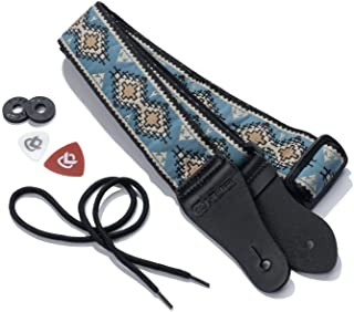 KLIQ Vintage Woven Guitar Strap for Acoustic and Electric Guitars + 2 Free Rubber Strap Locks, 2 Free Guitar Picks and 1 F...