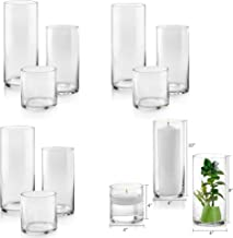 Set of 12 Glass Cylinder Vases 4 from Each Size 4, 8, 10 Inch Tall – Multi-use: Pillar Candle, Floating Candles Holders or...