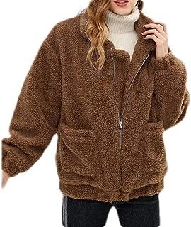 Macondoo Women Fuzzy Long-Sleeve Sweatshirt Zipper Coat Sherpa Jacket with Pockets