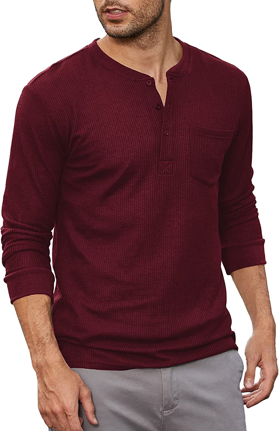 COOFANDY Men's Henley Shirts Long Pique Waffle Sleeve Louisville-Jefferson County Mall Basic Pull Sales