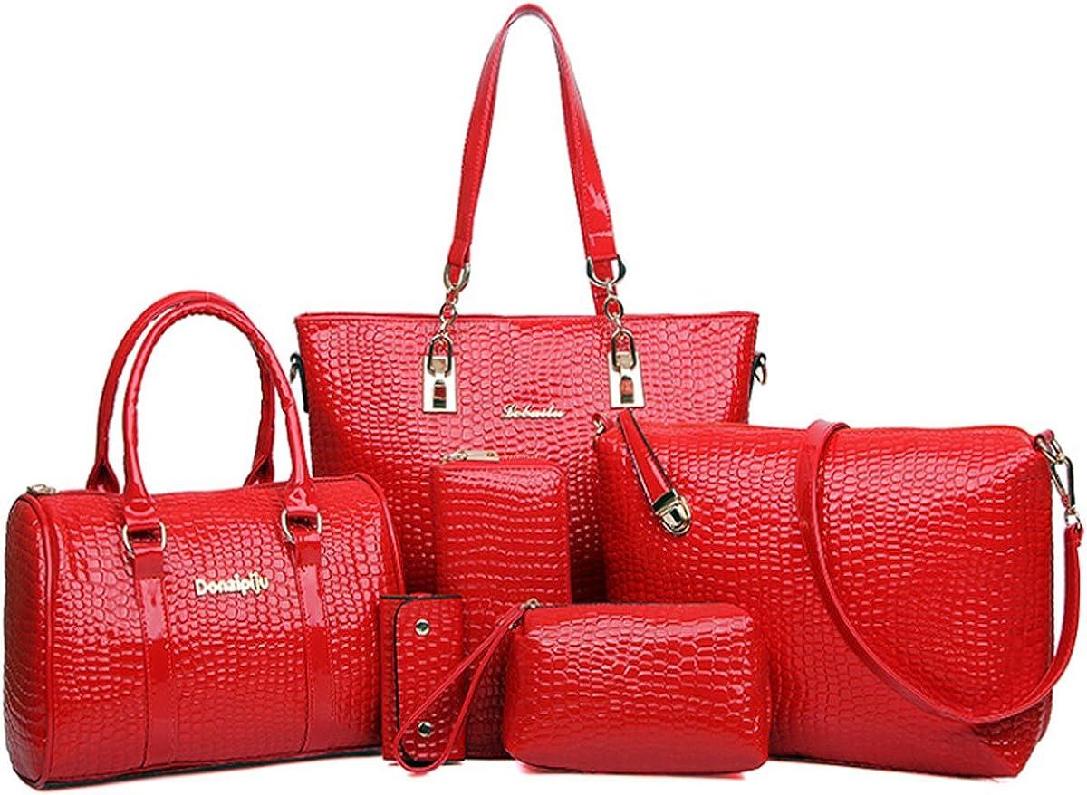 All stores are sold Womens 6 Pcs Handbag Set Clutch Totes Satchels Crossb SALENEW very popular! Top Handle
