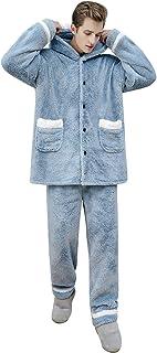 YAOMEI Mens Pyjamas Winter Suit Long, Mens Super Thick Long Pajamas Suit Sleeves Nighties Couples Sleepwear Nightwear, Lin...