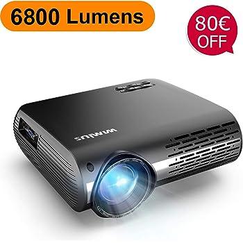 Videoproiettore,WiMiUS 6800 Lumen Nativa 1080P LED Proiettore Full HD Con 300'' Display Supporto 4K Correzione trapezoidale elettronica ± 50 °proiettore per Smartphone, PC,PS4