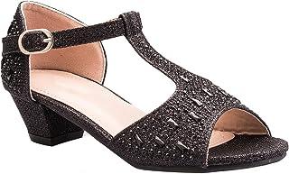 OLIVIA K Girls Glitter and Rhinestone Open Toe T-Strap Kitten Low Heel Sandals (Toddler/Little Girl)