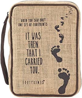 Footprints in The Sand Burlap Jute Bible Cover with Handle, Thinline