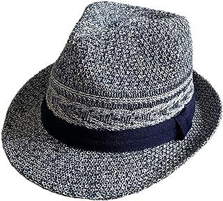 no brand (カラー : ネイビー )( サイズ : 61cm ) 帽子 BIG L サイズ 3D編み 透かし編み サーモハット ストローハット 中折れハット 春 夏 ハット サイズ調整 形状記憶 男女兼用 父の日