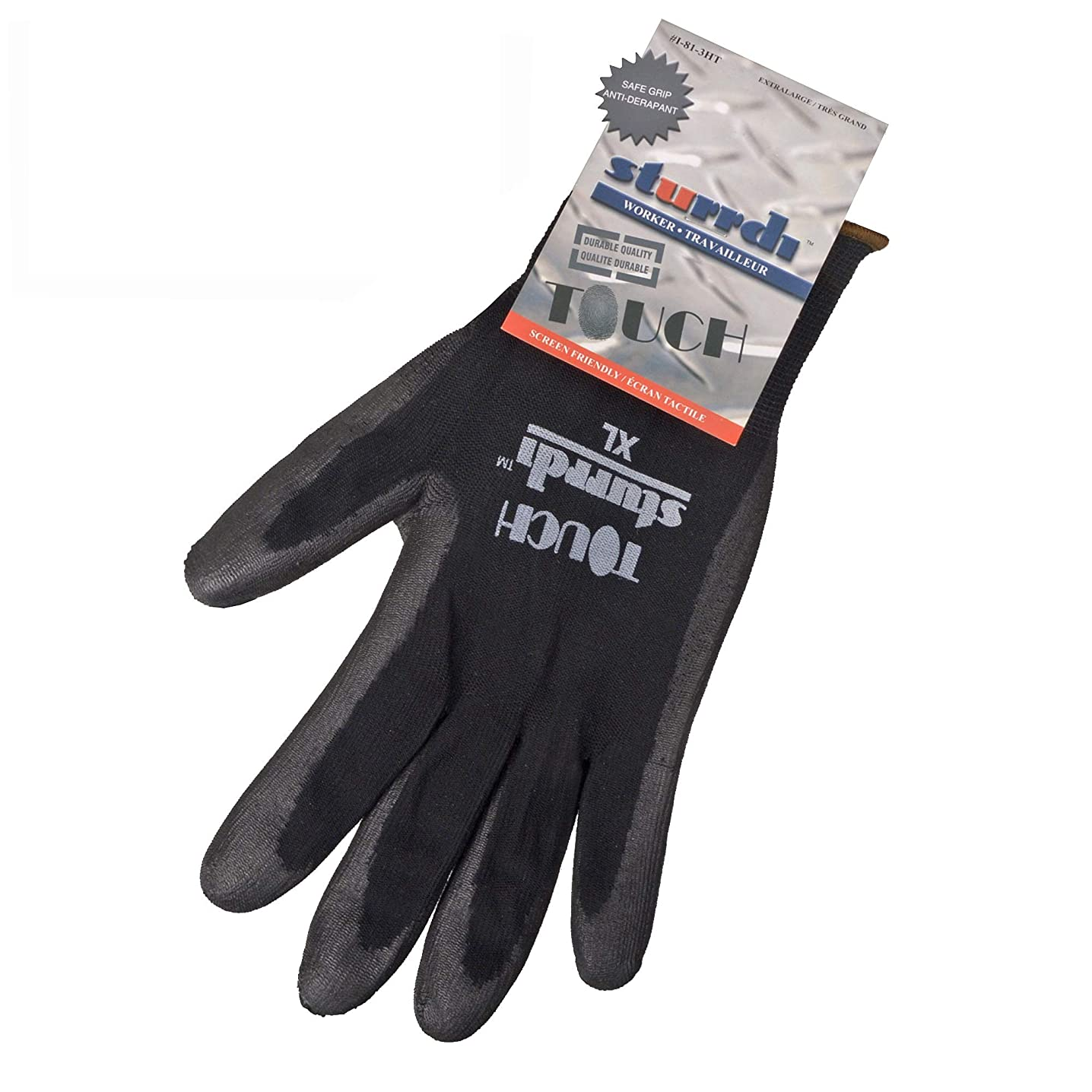 BuylessFashion Polyurethane Black Glove for Work with Nylon Palm-Coated