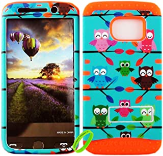 Cellphone Trendz Dual Layer Soft Hard Hybrid High Impact Protective Case Cover for Samsung Galaxy S6 Edge - Multi Color Owl On Branch Design Hard Case on Orange Skin
