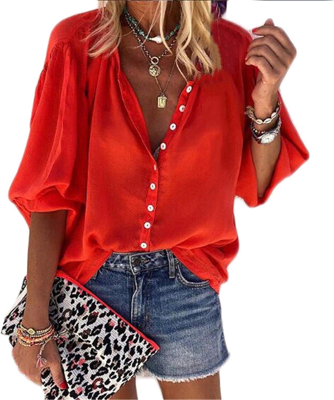 Andongnywell Women's Long Sleeve V Neck Chiffon Blouses Tops Button Down Slim Shirts Tunics Ladies