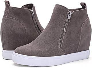 Athlefit Women's Platform Boots Breathable Wedge Booties Ankle Heels
