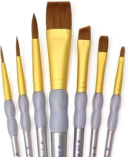 Royal & Langnickel RCC 410 - Set de brochas planas variadas de taklon marrón, 7 piezas