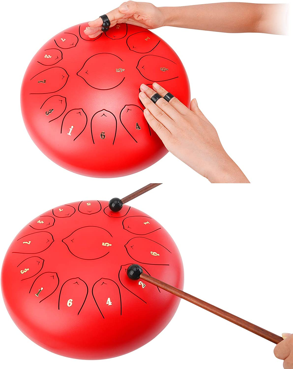 Hand Drum 12 Inch 13 Note Steel Tongue Drumpan Percussion Instrument Mallets Carry Bag Brown