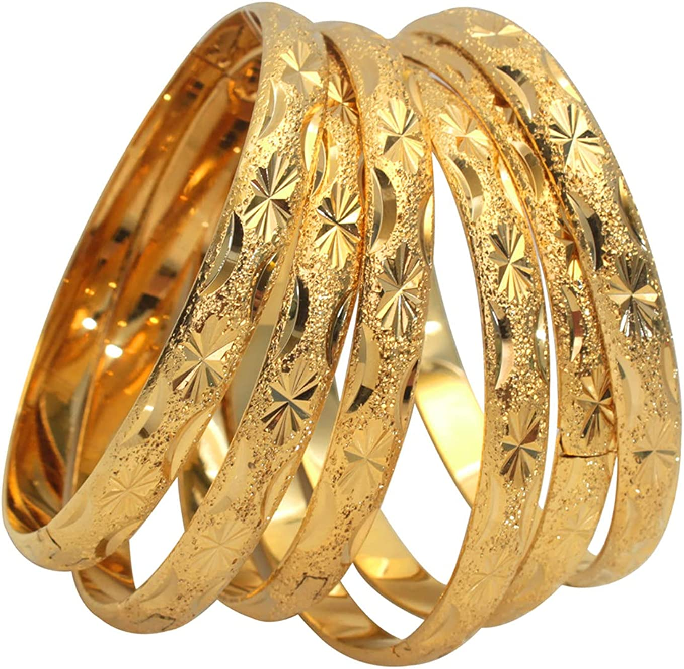 NC 6 Pcs/Pack African Bangle Bracelet for Women 18k Gold Plated Copper Open Design Bangle Bracelets Jewelry, 2.6