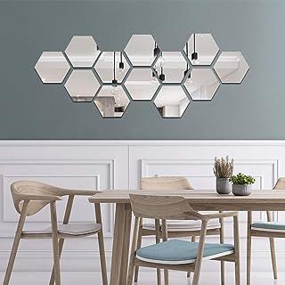 decalmile 12 Pièces Miroir Acrylique Adhésif Autocollant Mural Miroirs Muraux Stickers Salon Chambre Décor TV Fond Décorat...