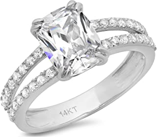 Clara Pucci 4.35 CT Cushion Cut Solitaire Engagement Ring 14K White Gold Bridal Jewelry