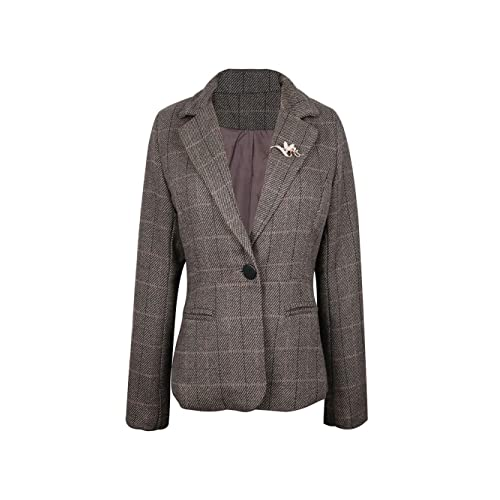 ba8a2073029 NJunicorn Uncle Womens Tweed Casual Blazer Jacket Outwear One-Button Blazer  Elbow Patch