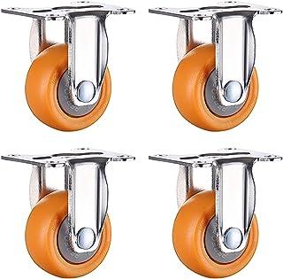 (4 stuks) 25 mm nylon zwenkwiel voor meubels, transport zwenkwielen, geel/vaste zwenkwielen/zwenkwielen/rem / 20 kg / 1 st...