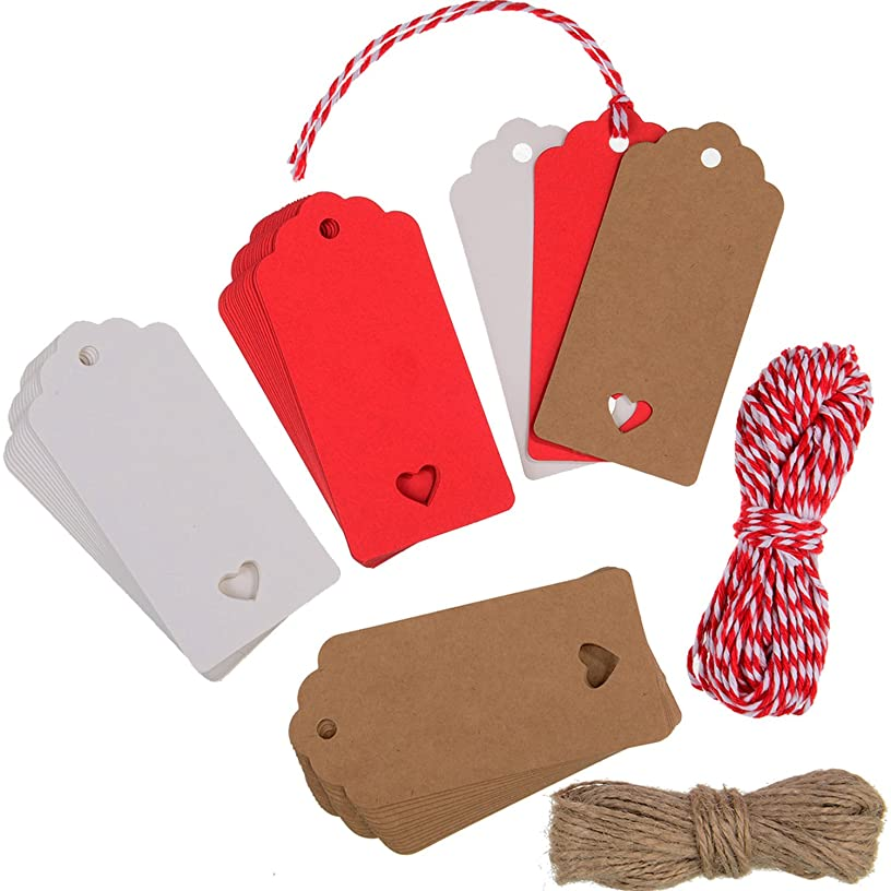 Hestya 150 Pieces 3 Colors Kraft Paper Gift Tags with 20 Meters String for Valentine's Day Wedding Party Favors
