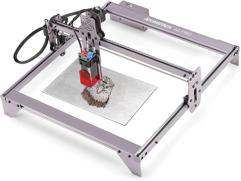 Máquina de grabado láser, cortadora láser función de enfoque de diseño de protección para los ojos, grabadora láser DIY CNC para metal, madera, cuero, vinilo (A5 Pro 40W)