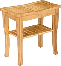 SONGMICS Bamboo Shower Bench Seat with Storage Shelf, Shower Spa Chair Seat Bench for Indoor or Outdoor, Natural UBCB21Y
