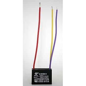 NEW TECH Ceiling Fan Capacitor 3 Wire 1.5uf+3uf - - Amazon.comAmazon.com