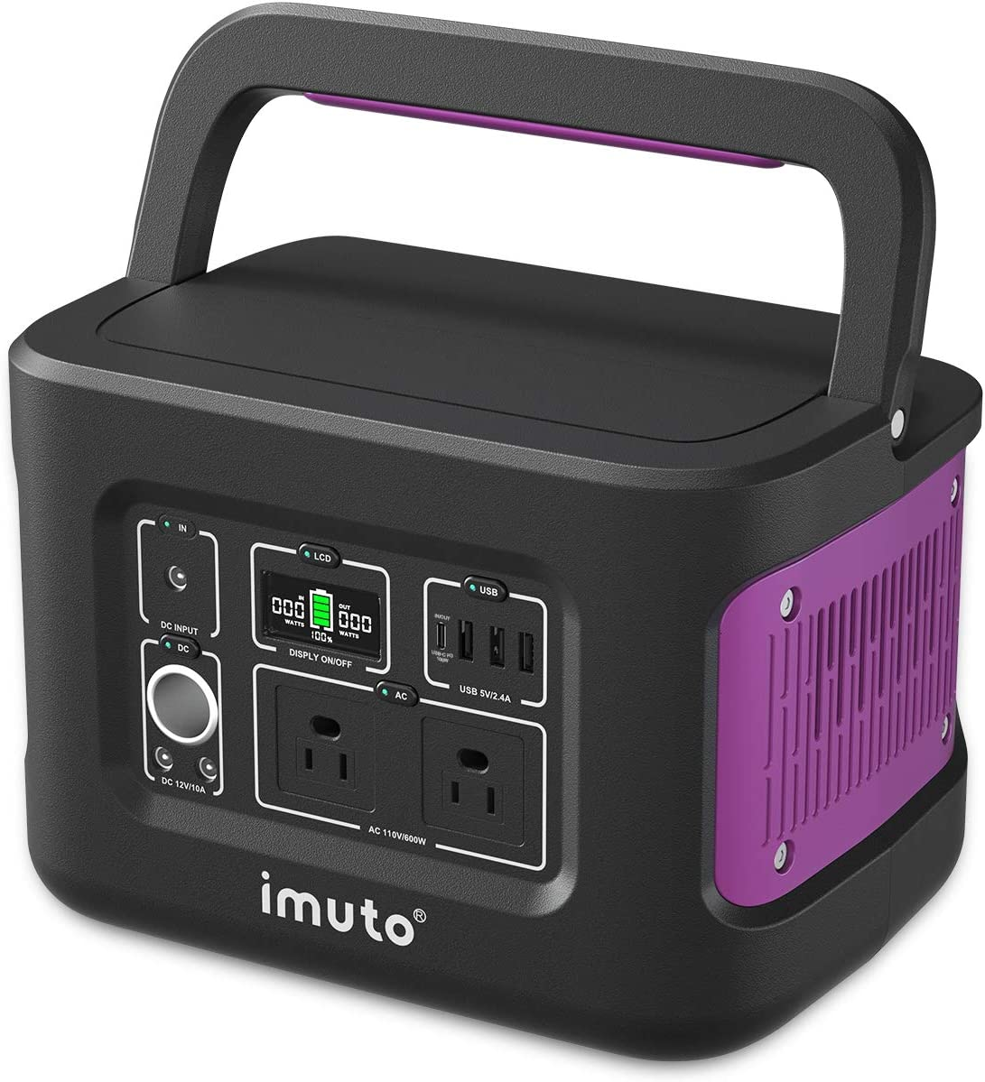 imuto Portable Power Station 600W 2 Department Topics on TV store Solar 622Wh with Generator