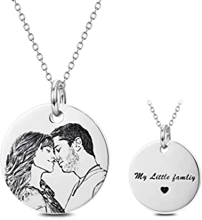 Personalized Photo Necklace Sterling Silver Custom Engraved Picture Image Necklace Pendant Black and White Color Gifts