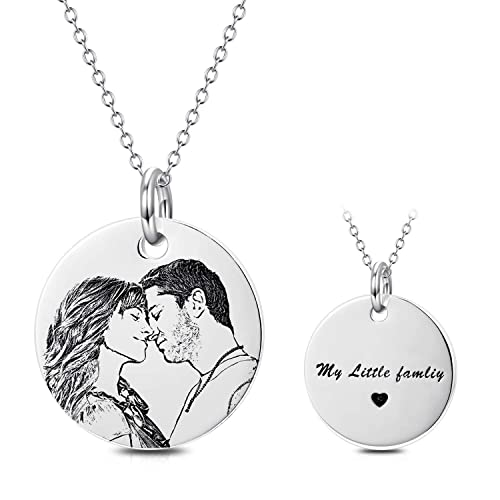 Fathers Day Gift! Personalised Photo//Text Engraved Round Necklace Pendant