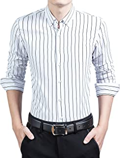 DOKKIA Men's Casual Long Sleeve Vertical Striped Slim Fit Dress Shirts