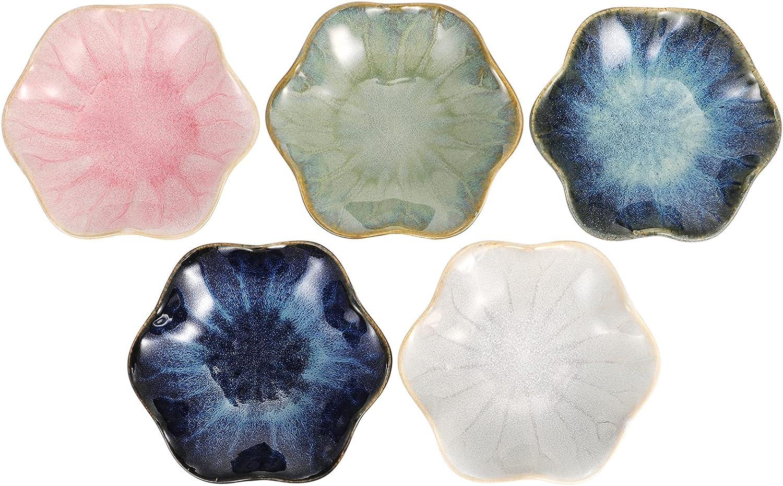 DOITOOL 5pcs Ceramic Sauce Dishes Wholesale Plates Mini Shape S Tulsa Mall Leaf Lotus