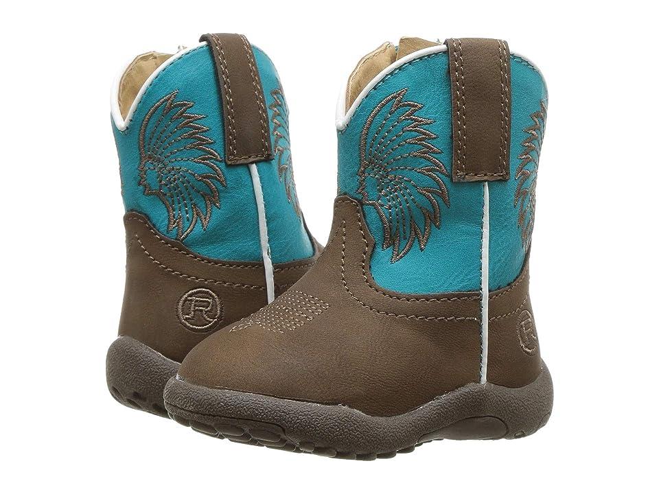 Roper Kids Big Chief (Infant/Toddler) (Brown Faux Leather Vamp/Headdress Vamp) Cowboy Boots
