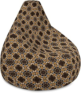 BeauLiv Brown Vintage Love Large Bean Bag Chair Cover Only Without Filling (No Filler) for Kids Teens and Adults Zipper Bean