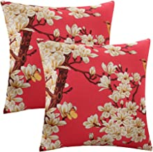ULOVE LOVE YOURSELF 2Pack Throw Pillow Covers with Singing Birds&Fragrant Flowers Pattern Home Decorative Cotton Linen Cushion Cover 18×18 Pillowcase (Red)