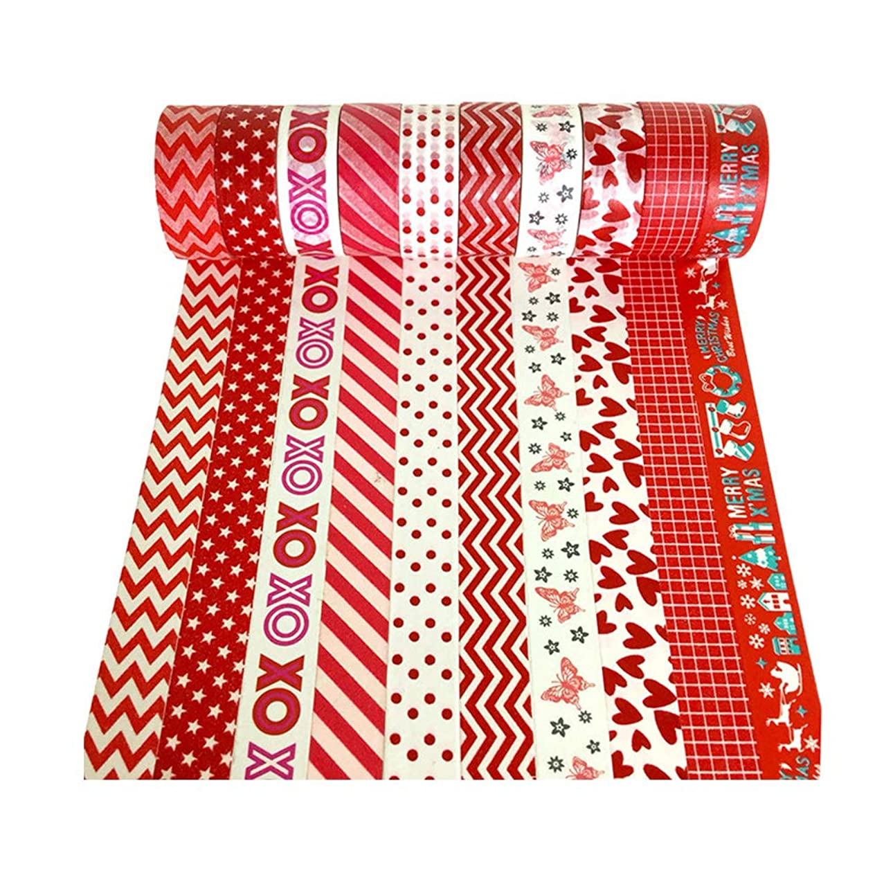 XYBAGS Christmas Decorative Washi Tape,Set of 10 Rolls, Assortment of Christmas Holiday Designs & Shapes (Style G)