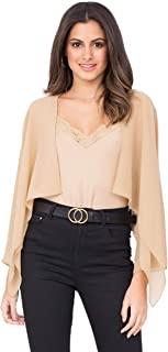 Women/'s mezza manica lucido aperto davanti corto donna COPRISPALLE BLUSA Top 8 10 12 14
