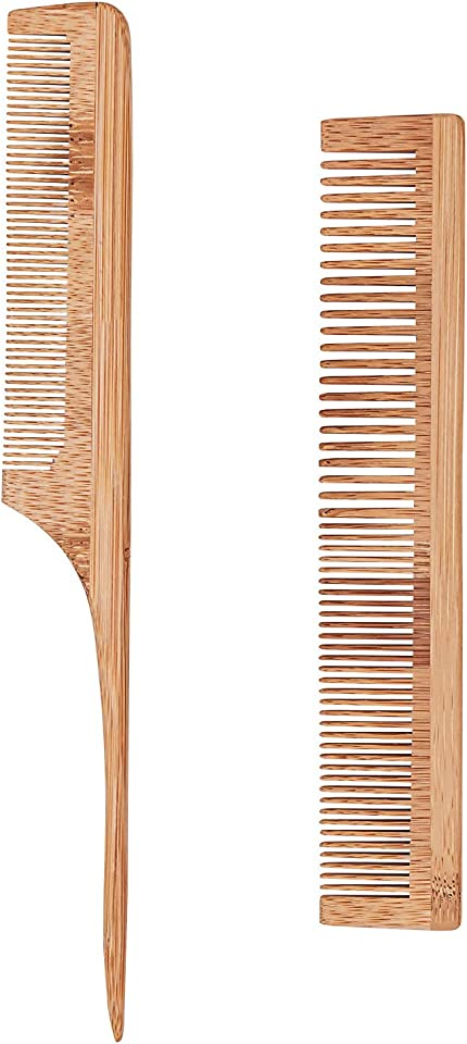 Bligo 2 Piece Bamboo Hair Comb Set - Fine and Wide Tooth Comb & Pin Tail Comb, Anti-Static Hairdressing Comb for Cutting and Hair Styling, for Most Hair Types