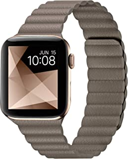 I.N.I Compatible with Apple Watch Band 44mm 42mm 40mm 38mm - Enhanced Adjustable Leather Strap with Magnetic Closure System for iWatch Series 5/4/3/2/1