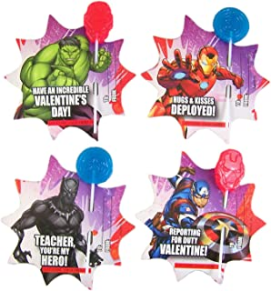 Marvel Avengers Valentines Day Friendship Card Exchange with Lollipops, 28 Count