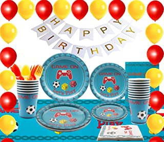169 Pieces Video Game Party Supplies, ,Birthday Decorations, Boys Birthday Party, Happy Birthday Banner, Backdrop Birthday Goodie Bag, Tablecloth, Plates, Cups, Napkins, Utensils, Balloons & Ribbons.