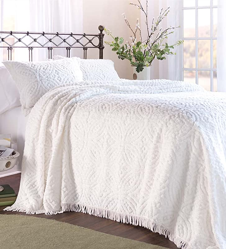 Plow Hearth Tufted Chenille Cotton King Bedspread White