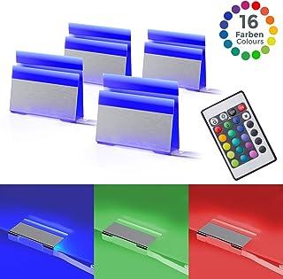 Pinzas iluminacion para superficies, Pack de 4, Luz de multicolores LED, incl. Mando a distancia