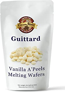 Guittard A'Peels Vanilla White Chocolate Wafers Melting Chocolate | Cacaoholic Resealable Stand Up Pouch | 2 Pound