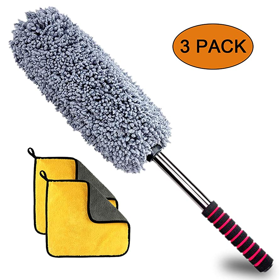 Ultimate Car Duster, Anumit Car Microfiber Duster Cleaner Exterior with Long Extendable Handle, 2 Lint Microfiber Cleaning Cloths, Perfect Duster for Auto, Motorcycle, Truck, Pickup Truck, ATV, UTV et