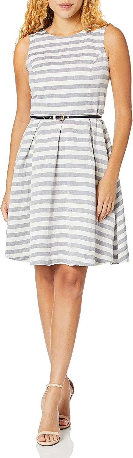 NINE WEST Women's Striped Fit and Flare Dress with Self Belt