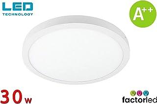 6000K, Luz Fr/ía 6000K 4000K Panel superficie interior FactorLED Plaf/ón de Techo LED Cuadrado 30W equivalente a 210W Clase de eficiencia energ/ética A++ L/ámpara f/ácil instalaci/ón 3600lm